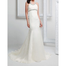 Sexy Sheath Halter Sleeveless Sweep Train Chiffon Wedding Dresses