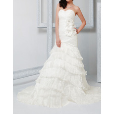 Sheath Sweetheart Court Train Layered Skirt Organza Wedding Dresses
