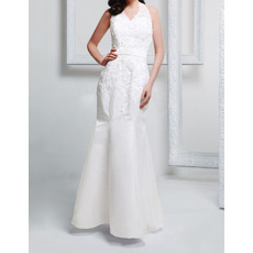 Discount Trumpet Halter Sleeveless Floor Length Satin Wedding Dresses