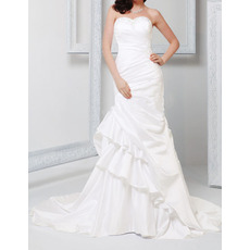 Sexy Sheath Sweetheart Chapel Train Satin Asymmetric Wedding Dresses