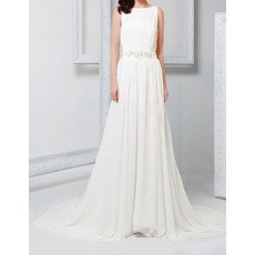 2018 New Chic Column Bateau Court Train Chiffon Wedding Dresses