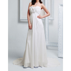 Vintage Empire Sweetheart Sleeveless Court Train Chiffon Wedding Dress