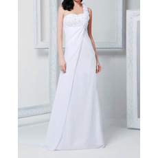 2018 New Sheath One Shoulder Floor Length Chiffon Wedding Dresses