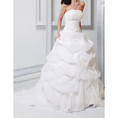 Custom Ball Gown Strapless Floor Length Organza Wedding Dresses