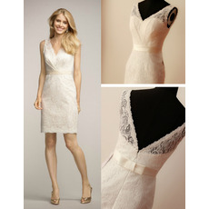 Affordable V-Neck Mini Lace Short Reception Wedding Dress with Belt