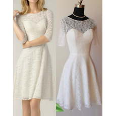 Vintage Mini Lace Short Reception Wedding Dresses with Half Sleeves