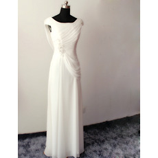 Custom Elegant Sheath Sleeveless Floor Length Chiffon Wedding Dresses