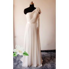 Elegant Column One Shoulder Floor Length Chiffon Wedding Dresses