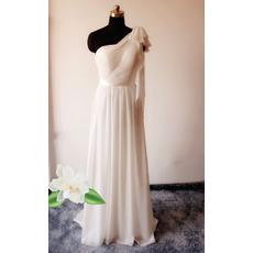 Elegant Column One Shoulder Floor Length Chiffon Wedding Dresses
