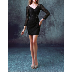 Sexy Sheath V-Neck Short Lace Black Cocktail Dresses with Long Sleeves