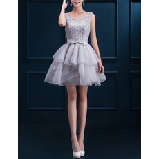Custom A-Line Sleeveless Short Beading Lace-Up Cocktail Dresses