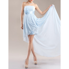 Custom Strapless High-Low Asymmetric Chiffon Cocktail Party Dresses