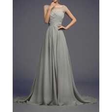 Affordable A-Line Sheer Bateau Sweep Train Chiffon Evening Dresses