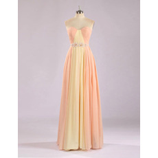 Custom Sweetheart Floor Length Chiffon Multicolor Evening Dresses