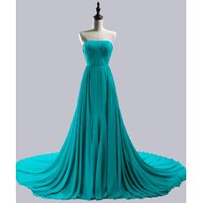 Inexpensive Strapless Sleeveless Chapel Train Chiffon Evening Dresses