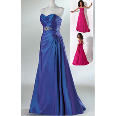 Elegant Sweetheart Sleeveless Floor Length Taffeta Evening Dresses