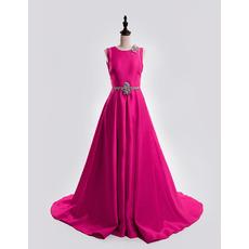 Formal A-Line Sleeveless Court Train Satin Backless Evening Dresses