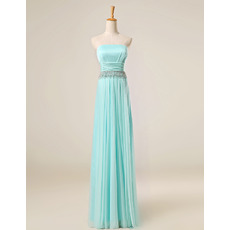 Affordable Strapless Floor Length Chiffon Tassels Evening Dresses