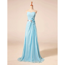 Elegant Sweetheart Floor Length Chiffon Evening Dresses with Belts