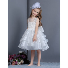 2018 Style Ball Gown Knee Length Layered Skirt Flower Girl Dresses