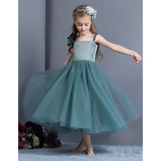 Affordable Straps Tea Length Organza Little Girls Holiday Dresses