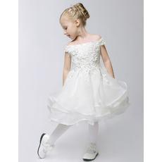 2016 A-Line Off-the-shoulder Knee Length Organza Flower Girl Dresses