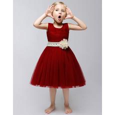 Lovely Ball Gown Knee Length Satin Flower Girl Dresses with Sashes