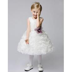 2017 New Style Ball Gown Knee Length Ruffle Flower Girl Dresses