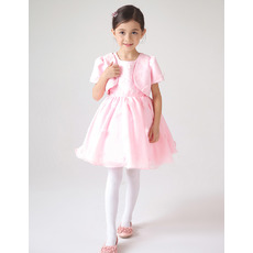 Beautiful Ball Gown Short Pink First Communion Dresses with Jackets