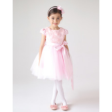 2018 Style Cap Sleeves Short Floral Pink First Communion Dresses