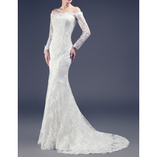 Custom Sheath Off-the-shoulder Long Lace Wedding Dresses with Sleeves
