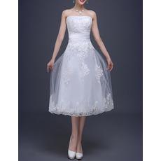 2018 Summer Strapless Satin Tea-Length Reception Wedding Dresses