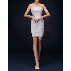 Sexy Column Strapless Sleeveless Short Lace Petite Wedding Dresses