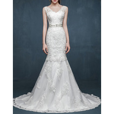 Designer Mermaid V-Neck Sleeveless Sweep Train Satin Wedding Dresses
