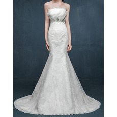 Discount Mermaid Strapless Sleeveless Sweep Train Lace Wedding Dresses