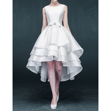 2018 Style A-Line High-Low Asymmetric Short Satin Wedding Dresses