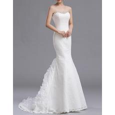 Custom Sexy Mermaid Sweetheart Floor Length Lace Wedding Dresses
