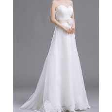 Inexpensive A-Line Sweetheart Floor Length Organza Wedding Dresses
