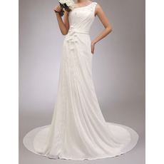 2018 New Elegant One Shoulder Court Train Chiffon Wedding Dresses