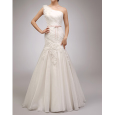 Custom Trumpet One Shoulder Floor Length Organza Wedding Dresses