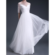 2018 New Sweetheart Floor Length Organza Wedding Dresses with Sleeves