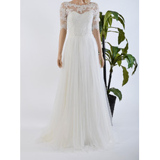 Elegant Floor Length Chiffon Tulle Wedding Dresses with Half Sleeves