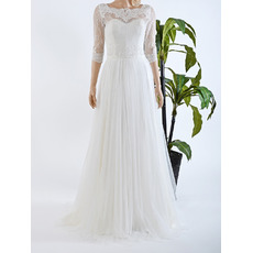 2016 New Floor Length Chiffon Lace Wedding Dresses with 3/4 Sleeves
