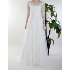 Custom Bateau Long Chiffon Lace Wedding Dresses with Half Sleeves