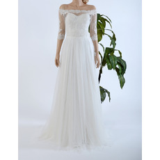 Inexpensive Off-the-shoulder Chiffon Wedding Dresses with 3/4 Sleeves