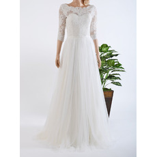 Elegant Floor Length Lace Chiffon Wedding Dresses with 3/4 Sleeves