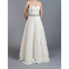 Discount A-Line Sweetheart Floor Length Lace Floral Wedding Dresses