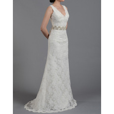 2018 Spring Sheath V-Neck Sleeveless Floor Length Lace Wedding Dresses