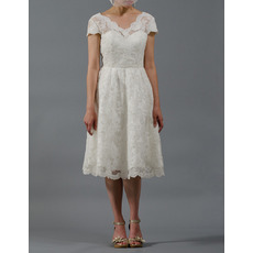 Custom Knee Length Lace Reception Wedding Dresses with Short Sleeves
