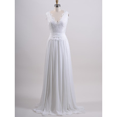 Affordable V-Neck Sweep Train Chiffon Wedding Dresses with Applique